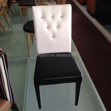 Modern design button tufted leather hotel restaurant chair, solid wood cafe chair(FOH-CXSC71)