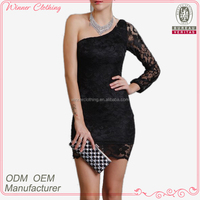 new arrival one shoulder sexy short mini night dress for woman