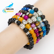 Wholesale buddha head charms natural stone bead bracelet men