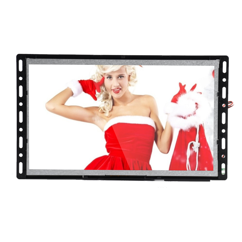Open frame acrylic counter pop display with lcd video player
