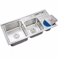 92*44CM 202 Stainless Steel Counter Top Double Bowl Kitchen Sink with Garbage Bin and Knife Holder X26062