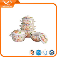 Set Of 10pcs flower decal Cookware Enamel Casserole Set With Lid