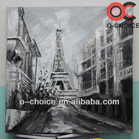 Newest design handpainted abstract paris scenery canvas oil painting