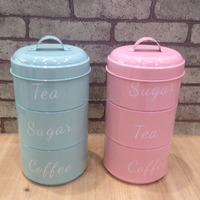 New style 3-tiered metal cake tea cookies canister storage tin jar