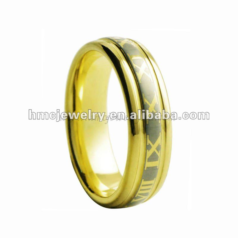 Men's Unique Tungsten Rings Yellow Gold Tungsten Rings