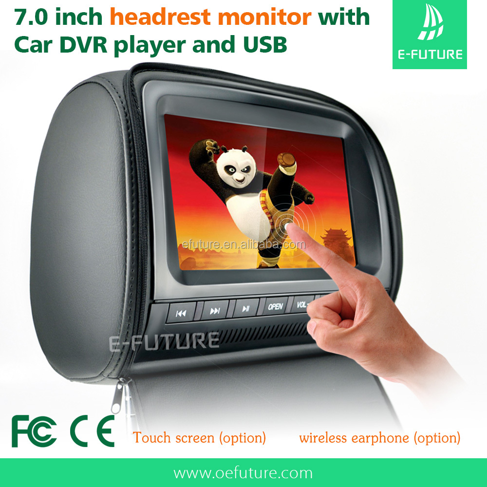 "7"" monitor car multimedia headrest monitor with Touch screen/DVD/USB/SD/GAME/IR/FM transmitter"