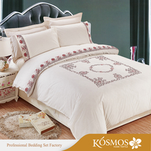 Fancy Embroidered Bed Cover Set King Size Polyester Bed Linen With Pillow
