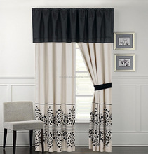 black and ivory curtain set made in china