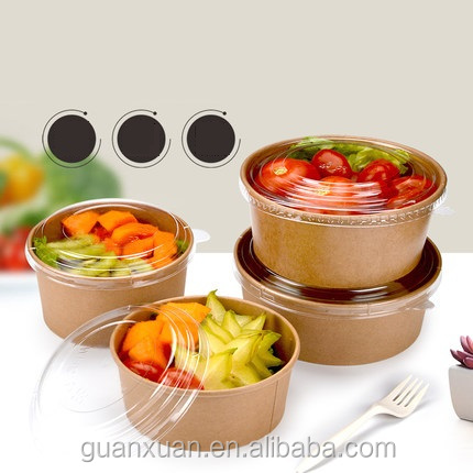 Disposable food packing container kraft paper salad bowl with lids