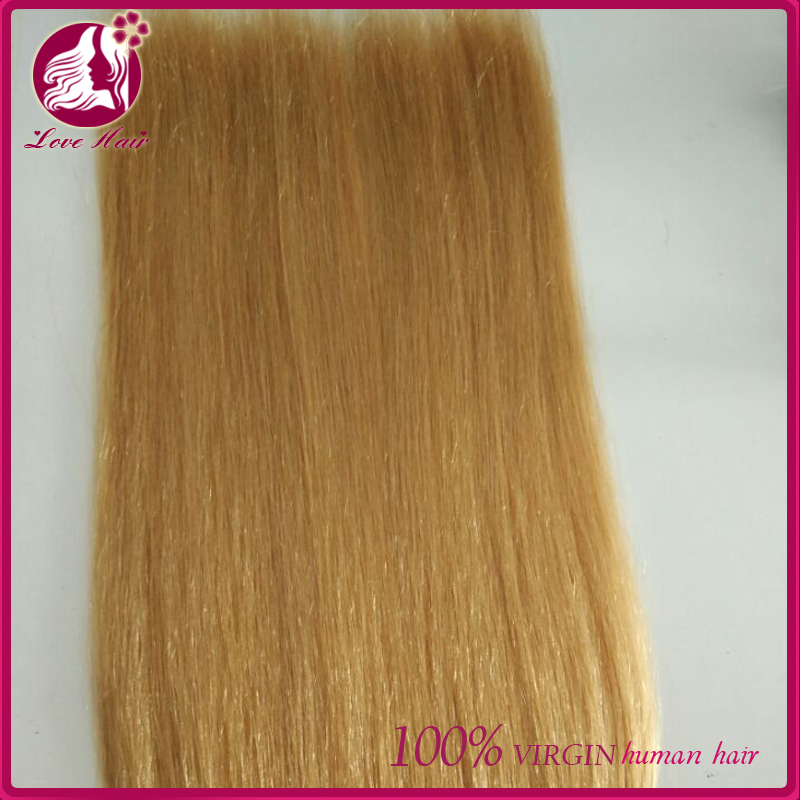 Hand tied wefts Human hair extensions/weft 8-30inch full hand made highlight/piano color