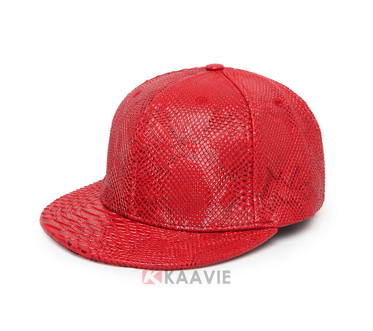 plain red artificial snakeskin leather snapback hat