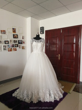 2017 Ball Gown Strapless scoop neckline Wedding Dress short sleeve bridal gown AS506