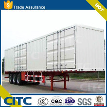China factory 40 to 60 tons white painted box cargo semi trailer / hot sale tri axle dry van type semi trailer