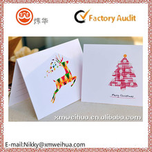 2015 customized colored winter reindeer and merry Christmas tree greeting card