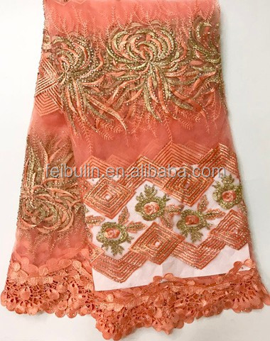 Latest african voile lace /dubai peach french lace fabric/ tulle net with stones wedding dress YL572