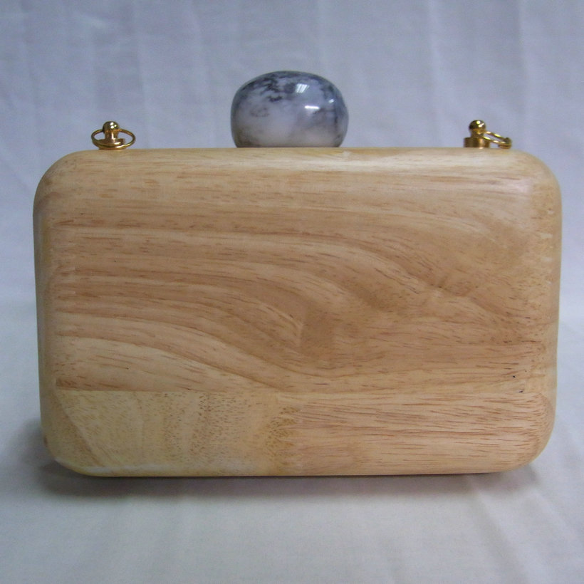 lady wooden clutch handbag