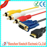 5 Feet 1.5m Gold Plated HDMI to VGA 3 RCA Cable for HDTV, Satellite TV, RGB Component Video, LCD Projector