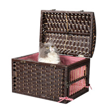 Eco-Friendly Wicker Pet Carrier Nature Dog House Cat Handle Basket