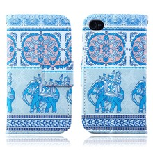 For Apple iPhone 4 4s 4G case Flip Wallet Stand PU Leather Case With Card Holder Cover Customize Printed phone Case