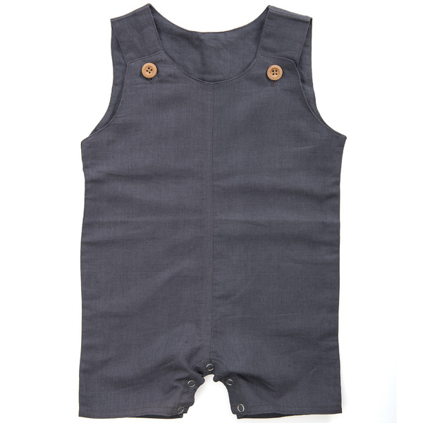 Baby sleeveless flax conjoined shorts