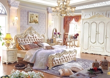 2016 french luxury style bed royal wood bedroom set furniture from China