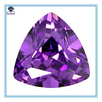 Triangle shaped Amethyst Cubic Zirconia Stone