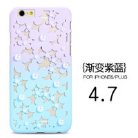 Hollow Gradual Color Change Peals Flower Plastic Shell Back Girls Case For iPhone 6