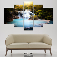 5Pcs Group Waterfull Wall Art Canvas Paintings Modern Frame Picture Print for Livingroom Hotel Home Decor Wholesale RA0029