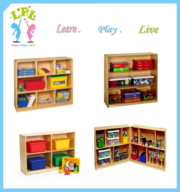 Hot sale high quality nutural color custom different size single side against wall wooden kids book shelf
