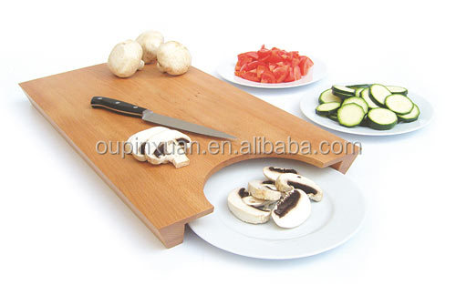 2015 new design bamboo cutting board with hole to put Plate Smart Kitchen Bamboo chopping blocks cutting board wholesale