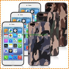 Luxury Camouflage pattern pu stick skin soft tpu back cover case for iphone 7