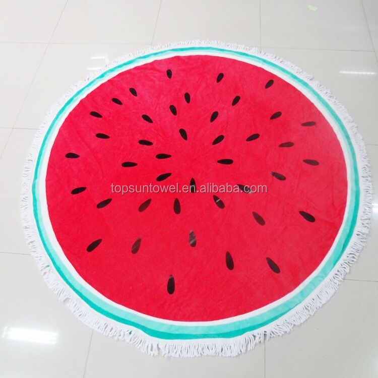 watermelon shaped round beach towel with tassels/circle towel