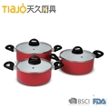 3pcs Aluminum nonstick saucepan with lid