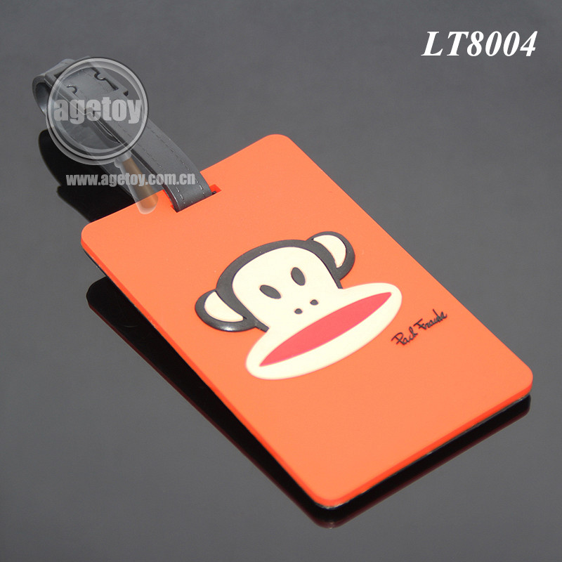 Animal Monkey Subject Injection Soft PVC Travel Luggage Label Rubber Name ID Address Tag Custom Wholesale Luggage Tags Silicone