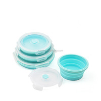 Four-piece Collapsible Round silicone lunch box with lids