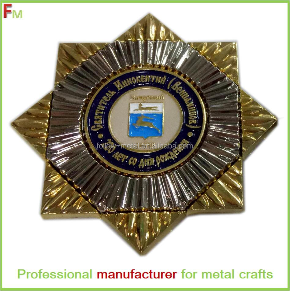 souvenir badge with five star shape nickel and gold plated