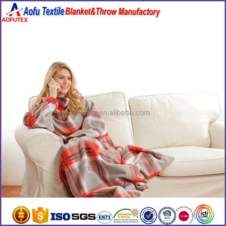 Wholesale adult TV Snuggie Red Plaid Blanket, Polar fleece knit polyester travel blanket