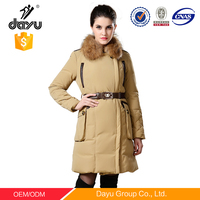 european Russia sexy winter ladies coats and jackets leather pockets with detachable fur collar down jacket