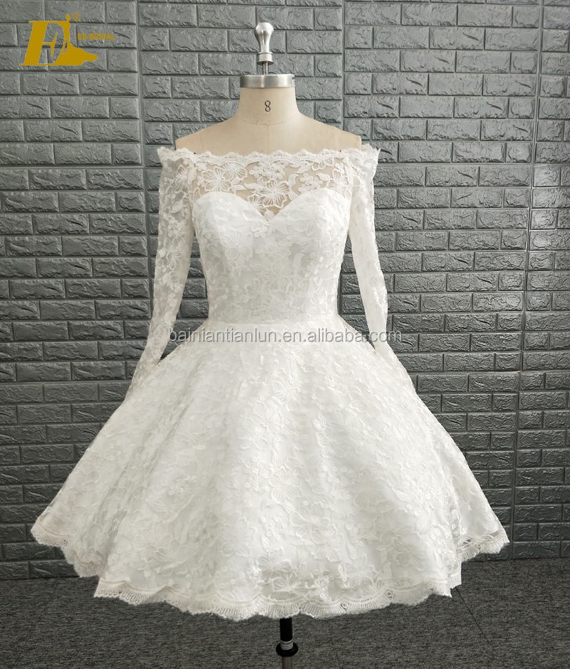 2018 New Collection Open Back Off Shoulder Long Sleeve Lace Pattern Short Wedding Dresses