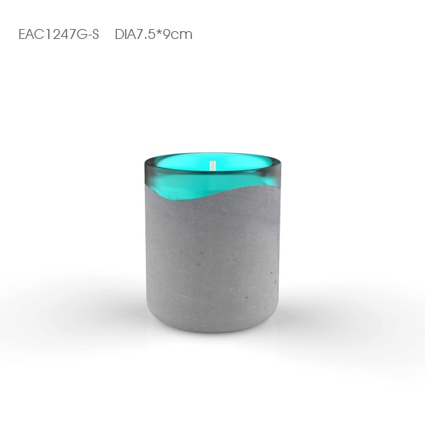 New design leather fancy concrete round shaped Concrete Candle Holder