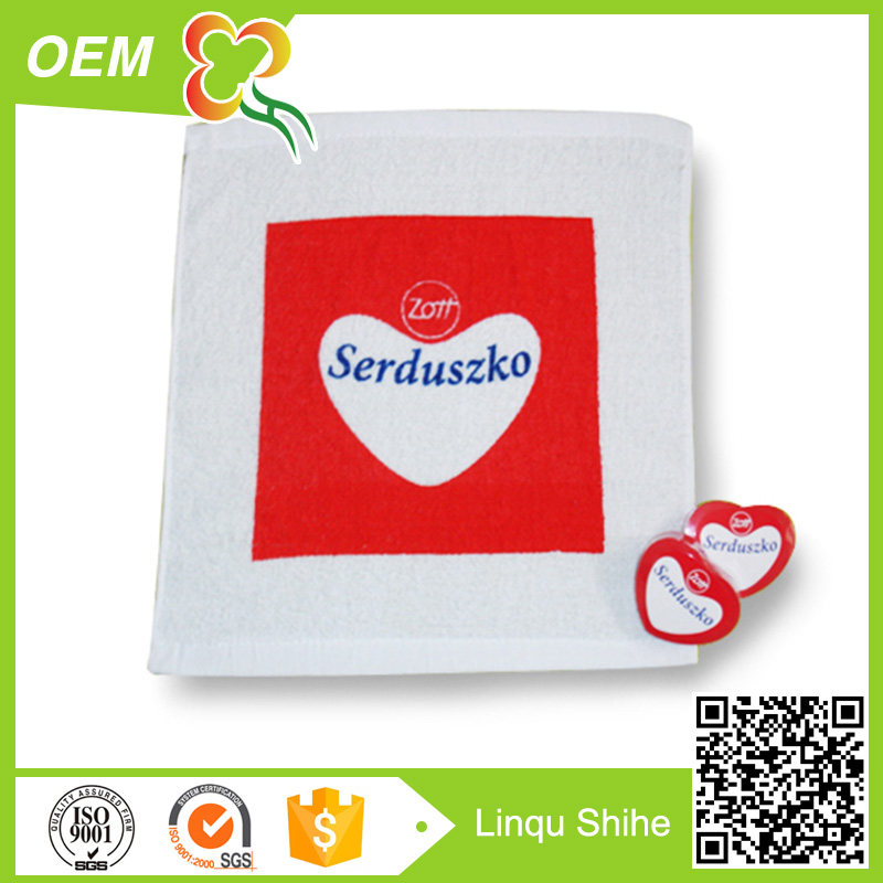 New items 2017 heart shape return gift towel cheap print towel small