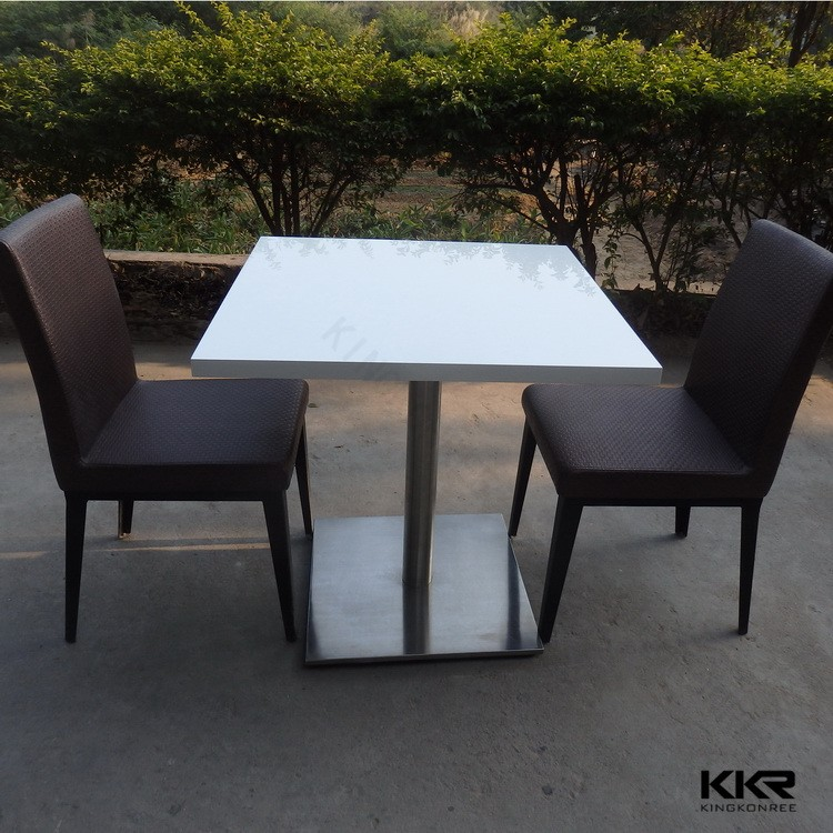 White Sparkle Quartz Stone Dining Tables Marble Top Restaurant