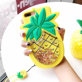 Star quicksand pineapple silicone case for iPhone 6 6 plus 7 7 Plus