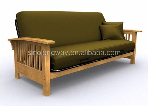 Metal Folding Sofa Cum Bed With Wood Rail Wrought Iron