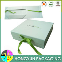 High end hard paper folding gift box with ribbon and magnetic lid