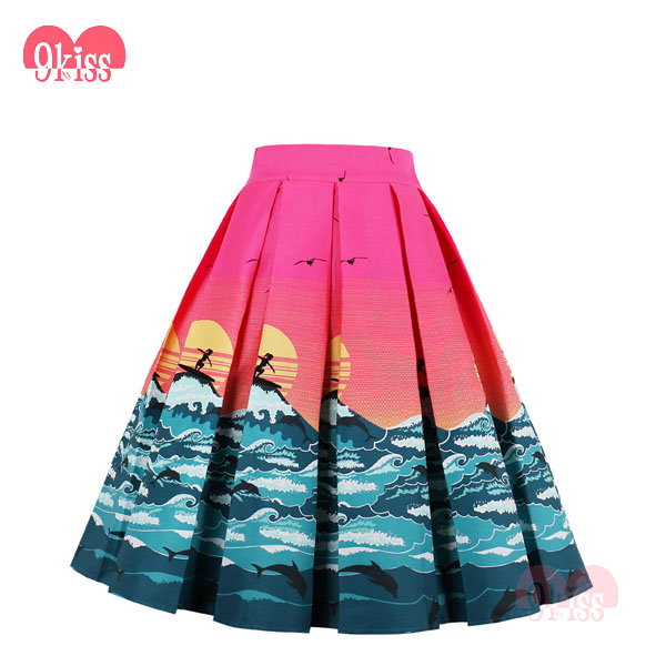 Instyles Seaside Setting Sun Surfing Pattern African Print Vintage Skirts