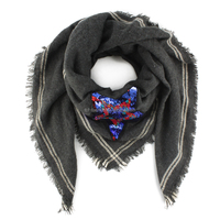 Ladies' acrylic star sequined embroidery striped square woven scarf shawl