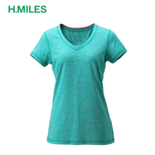 Blank Dri fit cheap wholesale women V-neck short sleeve running t shirt