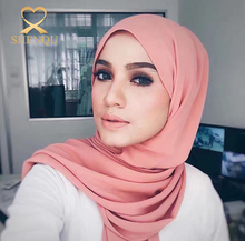 10PCS MOQ Latest Fashion Women Hot Muslim Headscarf Multicolor Chiffon Arab Islamic Bubble chiffon muslim hijab