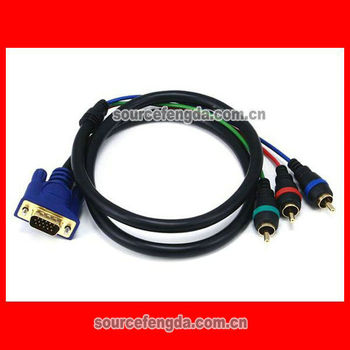 high quality VGA to RCA cable male to male component video cable/converter Gold plated